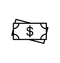 line cash dollar money icon on white background vector image