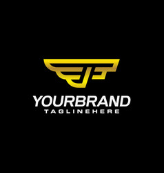 luxury wings logo with f letter elegant gold vector image