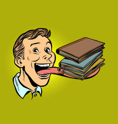 man with books in a long tongue vector image