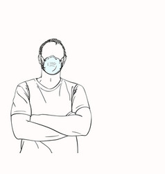 Man with no face in medical mask with arms vector