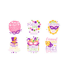 mardi gras logo design collection colorful vector image