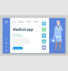 medical app on smartphone screen online medical vector image