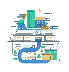 modern line flat design city vector image