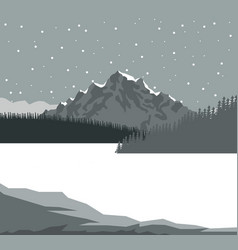 Monochrome scene landscape background of mountains vector