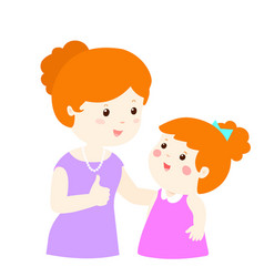 mother admire daughter character cartoon vector image