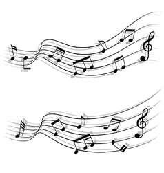 Musical chords flow like stream and shadow vector image