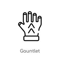 Outline gauntlet icon isolated black simple line vector