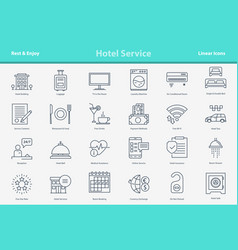 outline icon set - hotel service vector image