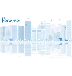 Outline Panama skyline with blue buildings vector