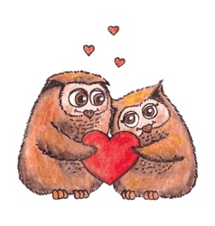 Owls in love with heart watercolor vector