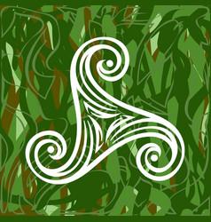 Pagan celtic symbol triskele on green grass vector