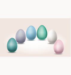 pastel different color eggs for easter day vector image