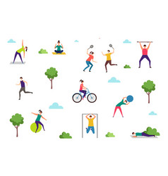 people doing sport exercises outdoor activities vector image