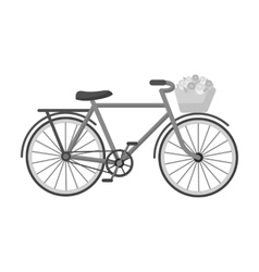 Pink bicycle with basket icon in monochrome style vector