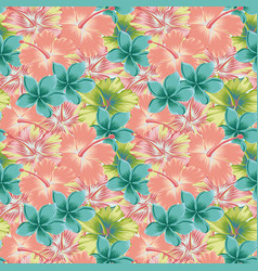 plumeria hibiscus abstract color seamless vector image