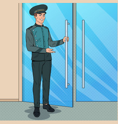 Pop art doorman standing at hotel entrance vector