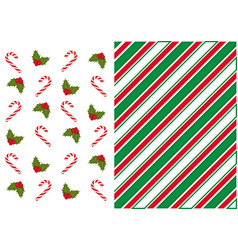 red and green stripe background with christmas vector image