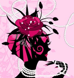 rose girl and pearls vector image