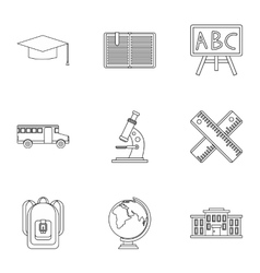 Schooling icons set outline style vector image