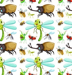Seamless background with different insects vector image
