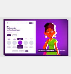 Self presentation indian female introduce vector
