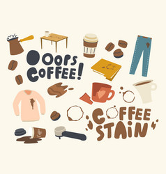 set icons coffee stains cezve with boiling vector image