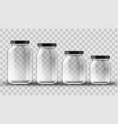 set of glass jars for canning and preserving on vector image