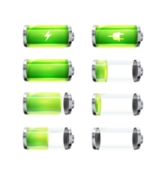 Set of glossy battery icons with different charge vector image