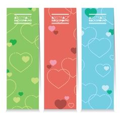 Set Of Three Colorful Hearts Vertical Banners vector