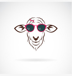 Sheep wearing sunglasses on white background vector