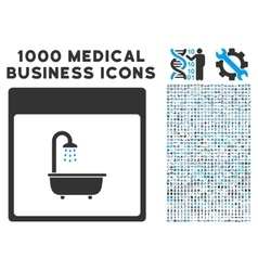 Shower Bath Calendar Page Icon With 1000 Medical vector