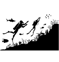 Silhouettes of divers exploring underwater reef vector