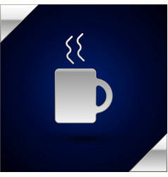 Silver coffee cup icon isolated on dark blue vector
