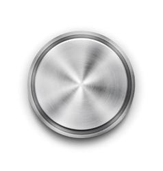 Silver metal textured button vector
