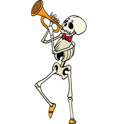 skeleton plating trumpet music haloween vector image