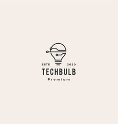 Smart bulb tech logo icon hipster vintage retro vector