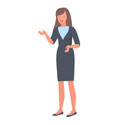 Smiling woman gestures by hands during talk vector