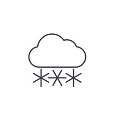 snow snowfall cloud winter weather thin line vector image vector image