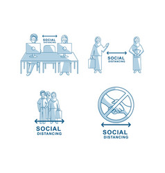 social distancing people wearing face mask concept vector image