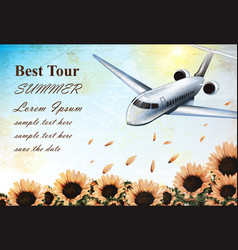 summer vacation card with tropic plane flying over vector image
