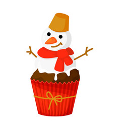 sweet christmas and new year cupcake snowman vector image