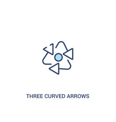 Three curved arrows concept 2 colored icon simple vector