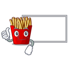 thumbs up with board french fries above cartoon vector image