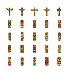 Totem icons set cartoon style vector