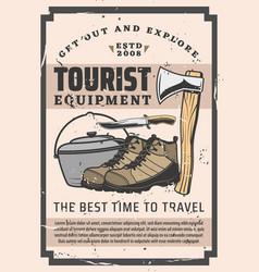 tourist equipment hikking boots camp knife pot vector image
