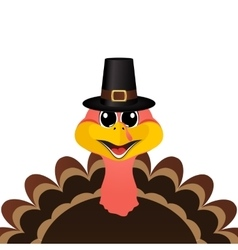 Turkey Pilgrimin hat on Thanksgiving Day vector image