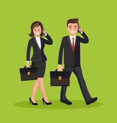 Two businessman man and woman talking on the phone vector
