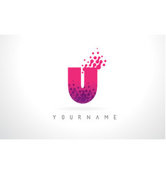 u letter logo with pink purple color and vector image