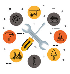 under construction screwdriver and wrench tools vector image
