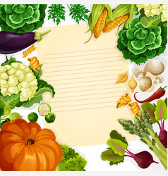 vegetables havest recipe template vector image